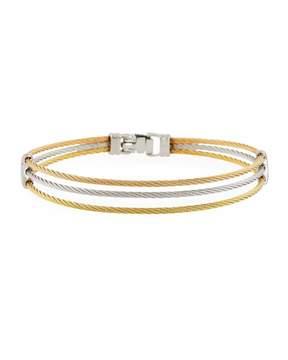 Alor Three-Row Split Cable Bangle, Two-Tone