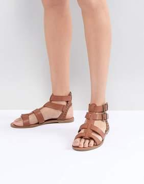 New Look Leather Look Gladiator Flat Sandal