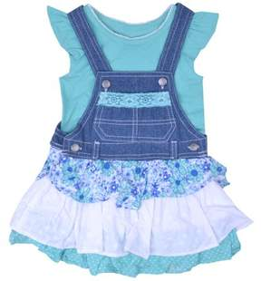 Nannette Little Girls' 4-6X Ruffle Tee and Tiered Skirtall 2-Piece Outfit Set