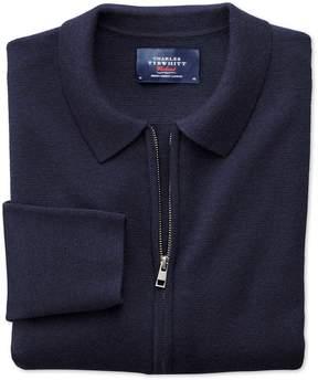 Charles Tyrwhitt Navy Merino Wool Zip Jacket Size XXL