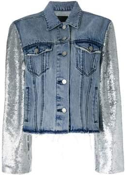 RtA metallic-sleeve frayed denim jacket