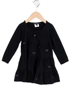 Lili Gaufrette Girls' Long Sleeve Bow-Accented Dress