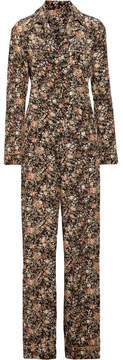 ADAM by Adam Lippes Metallic Floral-print Silk-twill Jumpsuit - Black