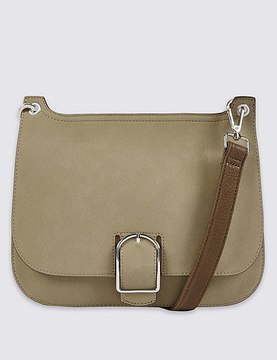 Faux Leather Buckle Saddle Across Body Bag