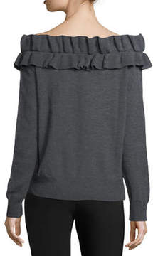 Collective Concepts Off-the-Shoulder Ruffled Sweater