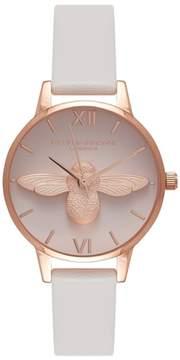 Olivia Burton Women's Molded Bee Leather Strap Watch, 30Mm