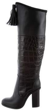 Lanvin Embossed Knee-High Boots