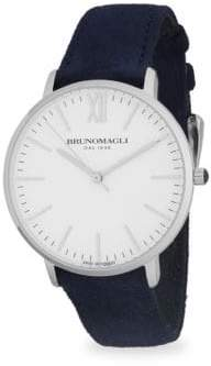 Bruno Magli Stainless Steel Slim Leather-Strap Watch
