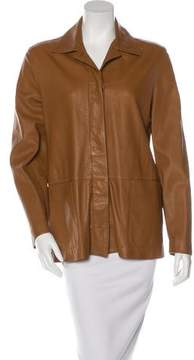 Bally Leather Button-Up Jacket
