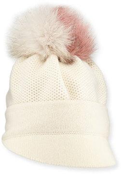 Inverni Brimmed Beanie w/ Fur Pompom