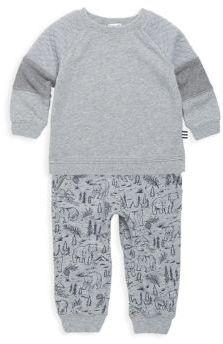 Splendid Baby's Two-Piece Heathered Top & Printed Pants Set