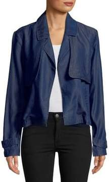 Ellen Tracy Short Denim Trench Coat