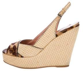 Alaia Woven Slingback Wedge Sandals