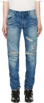 Pierre Balmain Blue Distressed Biker Jeans