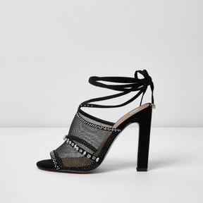 River Island Womens Black rhinestone embellished tie up sandals