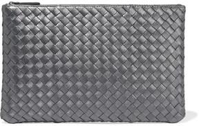 Bottega Veneta Metallic Intrecciato Leather Pouch - Silver