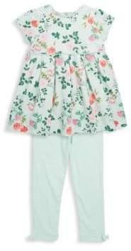 Little Me Little Girl's Two-Piece Botanical Dress and Leggings Set
