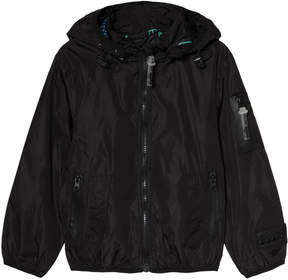 Diadora Black Lightweight Hooded Jacket with Inner Braces