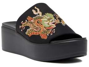Bebe Stretchy Embroidered Slide Sandal