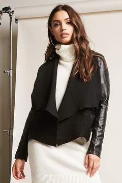 Forever 21 Faux Leather Open-Front Jacket