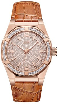 JBW Apollo Crystal Pave Tan Leather Men's Watch