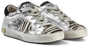 Golden Goose Deluxe Brand Silver Zebra Star Print Superstar Sneakers