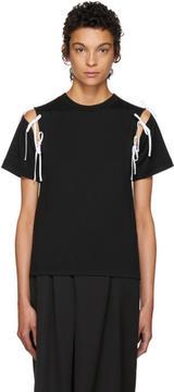 Facetasm SSENSE Exclusive Black Tie Shoulder T-Shirt