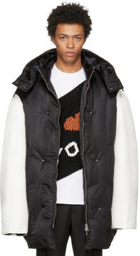 Raf Simons Black and White Big Feather Coat