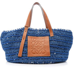 Loewe Woven Denim and Leather Tote