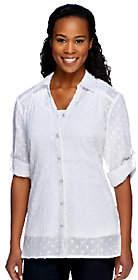 Denim & Co. Regular Clip Dot Tunic with Knit Tank