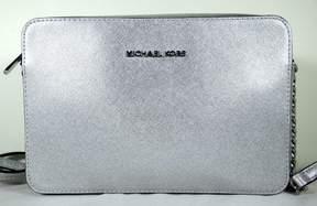 MICHAEL Michael Kors JET SET TRAVEL LARGE EW SILVER Leather Crossbody Bag - ONE COLOR - STYLE