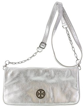 Tory Burch Women's Leather Satchel Handbag Reva Cross-body Silver - SILVER - STYLE