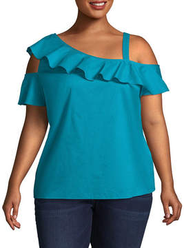 Boutique + + Ruffled One Shoulder Woven Blouse - Plus