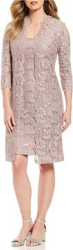 Alex Evenings Sequin Lace Shift Jacket Dress