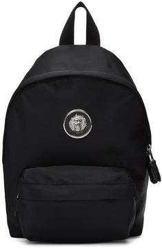 Versus Black Small Nylon Lion Medallion Backpack