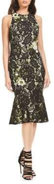 Theia Floral-Applique Sleeveless Dress