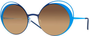 Italia Independent I-Metal Thin Two-Tone Butterfly Sunglasses, Blue