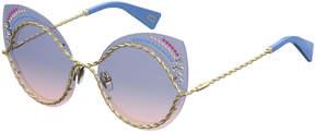 Marc Jacobs Metal Twist Cat-Eye Rhinestone Sunglasses, Gold/Blue