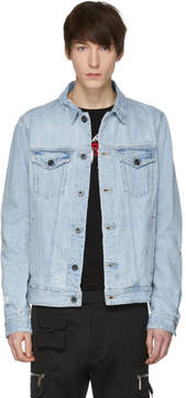 Diesel Black Gold Blue Distressed Denim Jacket