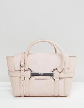 Fiorelli Barbican Mini Foldover Blush Tote Bag With Metal Bar Detail