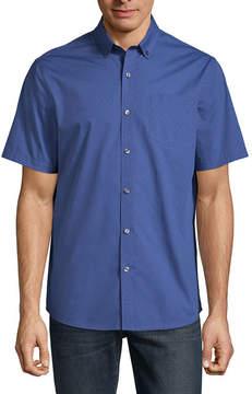 Claiborne Short Sleeve Tonal Button-Front Shirt