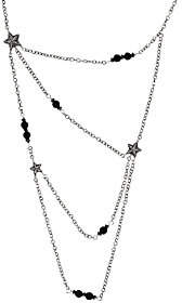 American West Sterling Onyx Bead & Star 4Strand Necklace