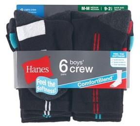 Hanes Crew Socks, 6 Pairs (Little Boys & Big Boys)