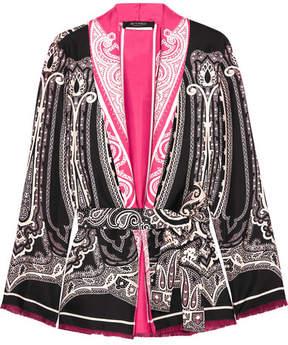 Etro Fringed Printed Silk-satin Kimono - Black