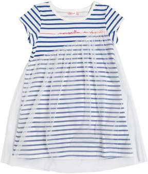 Billieblush Striped Jersey & Stretch Tulle Dress