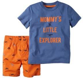 Carter's Baby Clothing Outfit Boys 2-Piece Tee & Short Set Little Explorer Blue