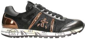 Premiata Lucy In Grey Leather And Suede Sneakers