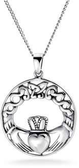 Celtic Bling Jewelry Knot Claddagh Pendant Sterling Silver Necklace 18 Inches.