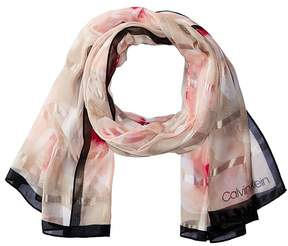 Calvin Klein Floating Orchid Shadow Stripe Scarf Scarves