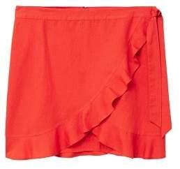 Violeta BY MANGO Ruffled linen-blend skirt
